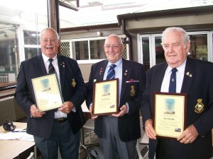 Andy Ian and Charlie who all joined on the same day in 1956 were presented with their Certifcates by Past President Brian Samuals
